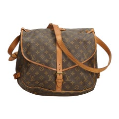 Vintage Authentic Louis Vuitton Brown Monogram Canvas Saumur 35 France MEDIUM