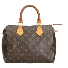 Vintage Authentic Louis Vuitton Brown Monogram Canvas Speedy 25 France MEDIUM