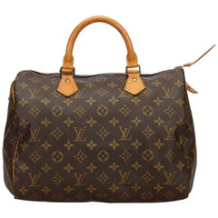 Vintage Authentic Louis Vuitton Brown Monogram Canvas Speedy 30 France MEDIUM