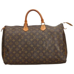 Vintage Authentic Louis Vuitton Brown Monogram Canvas Speedy 40 France LARGE