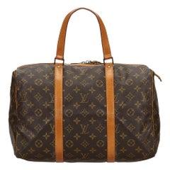 Vintage Authentic Louis Vuitton Brown Sac Souple 35 FRANCE w LARGE