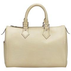 Vintage Authentic Louis Vuitton Brown Speedy 25 FRANCE w Padlock Key MEDIUM