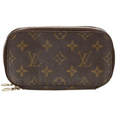 Vintage Authentic Louis Vuitton Brown Trousse Blush PM France SMALL