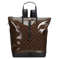 Vintage Authentic Louis Vuitton Dark Monogram Glaze Backpack w Dust Bag LARGE