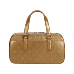 Vintage Authentic Louis Vuitton Gold Monogram Glace Shelton France MEDIUM