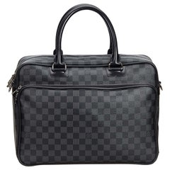 Vintage Authentic Louis Vuitton Graphite Icare Laptop Bag w Dust Bag LARGE