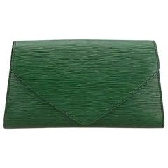 Vintage Authentic Louis Vuitton Green Art Deco Clutch France w Dust Bag SMALL