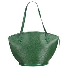 Vintage Authentic Louis Vuitton Green Saint Jacques GM Long Strap France LARGE