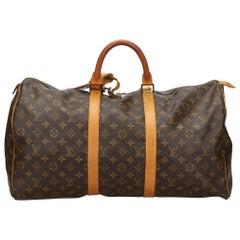 Vintage Authentic Louis Vuitton Keepall 50 w Padlock Padlock Padlock Padlock
