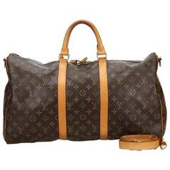 Vintage Authentic Louis Vuitton Keepall Bandouliere 50 w Dust Bag Padlock LARGE