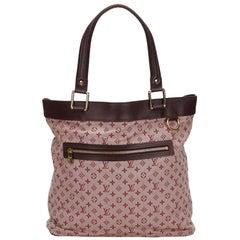 Vintage Authentic Louis Vuitton Pink Monogram Mini Lin Lucille GM France LARGE