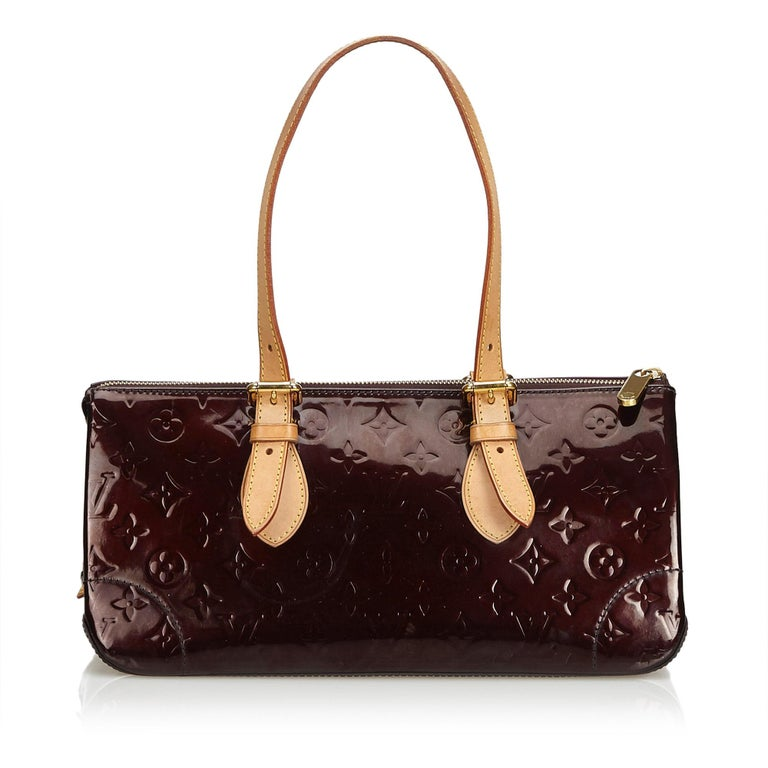 Black Vintage Authentic Louis Vuitton Purple Vernis Leather Rosewood France MEDIUM  For Sale