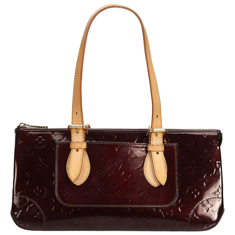 Vintage Authentic Louis Vuitton Purple Vernis Leather Rosewood France MEDIUM  For Sale