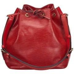 Vintage Authentic Louis Vuitton Red Epi Leather Petit Noe France SMALL