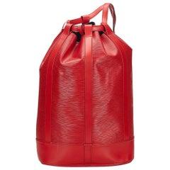 Vintage Authentic Louis Vuitton Red Epi Leather Randonnee GM France LARGE