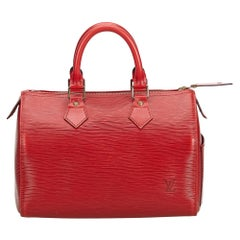 Vintage Authentic Louis Vuitton Red Epi Leather Speedy 25 France MEDIUM