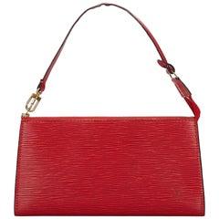 Vintage Authentic Louis Vuitton Red Pochette Accessoires FRANCE SMALL