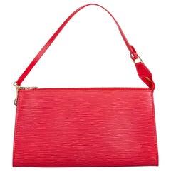 Vintage Authentic Louis Vuitton Red Pochette Accessoires FRANCE w SMALL