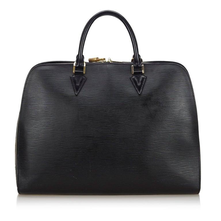 Black Vintage Authentic Louis Vuitton Sorbonne France w Dust Bag Padlock Key LARGE  For Sale