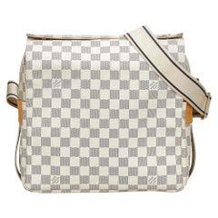 Vintage Authentic Louis Vuitton White Azur Naviglio France w Dust Bag MEDIUM