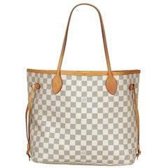 Vintage Authentic Louis Vuitton White Azur Neverfull MM France MEDIUM