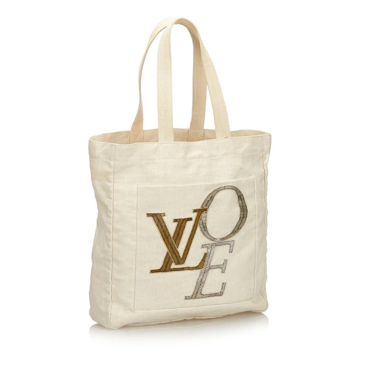 ff4ea901dd0 Vintage Authentic Louis Vuitton White Thats Love Tote MM Italy MEDIUM