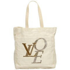 Vintage Authentic Louis Vuitton White Thats Love Tote MM Italy MEDIUM