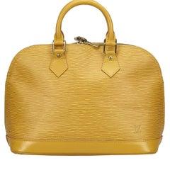 Vintage Authentic Louis Vuitton Yellow Alma PM France w Dust Bag Padlock SMALL