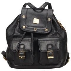 Vintage Authentic MCM Black Leather Backpack Germany MEDIUM
