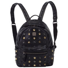 Vintage Authentic MCM Black Leather Studded Stark Backpack Germany w LARGE
