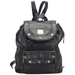 Vintage Authentic MCM Black Leather Visetos Drawstring Backpack Germany MEDIUM
