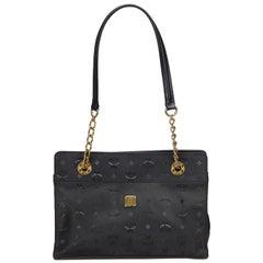 Vintage Authentic MCM Black Nylon Fabric Chain Shoulder Bag Germany LARGE