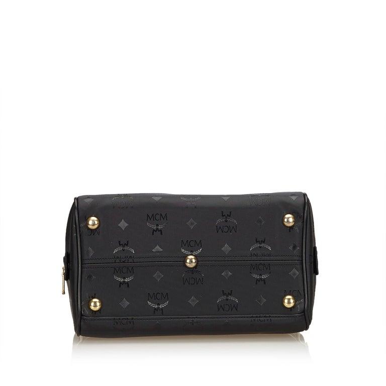 Women's Vintage Authentic MCM Black PVC Plastic Visetos Boston Bag Germany MEDIUM  For Sale
