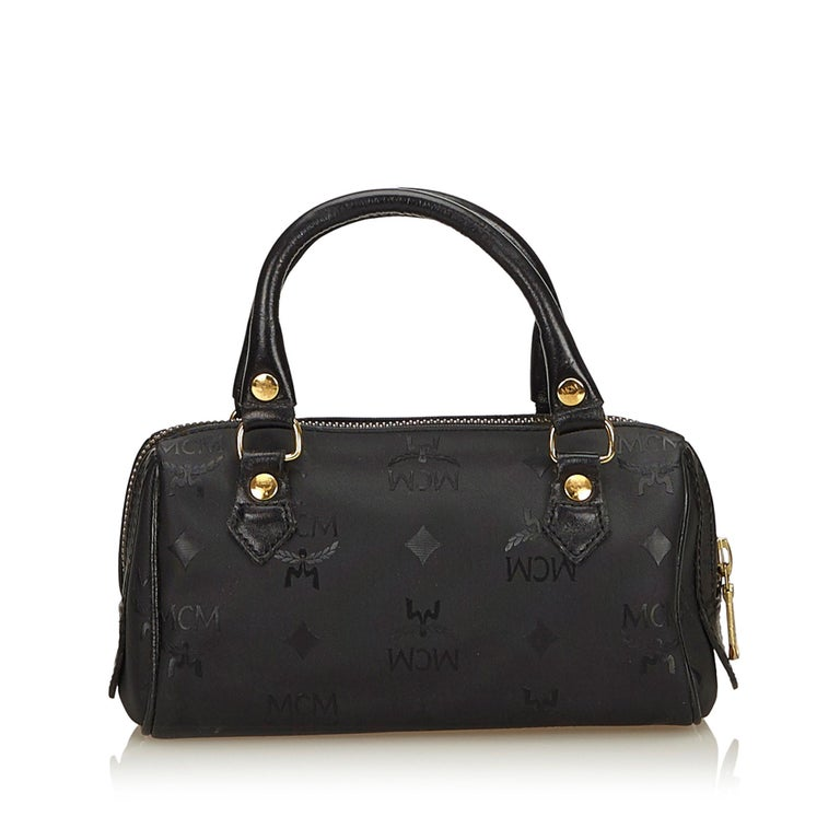 Vintage Authentic MCM Black PVC Plastic Visetos Boston Bag Germany SMALL  In Good Condition For Sale In Orlando, FL