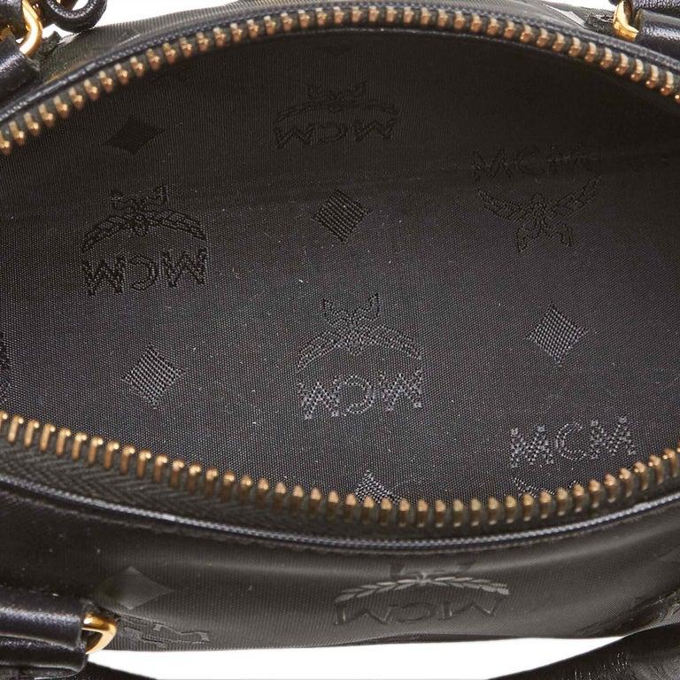 Vintage Authentic MCM Black PVC Plastic Visetos Boston Bag Germany SMALL  For Sale 1