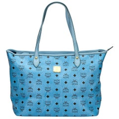 Vintage Authentic MCM Blue Leather Visetos Tote Bag Germany LARGE