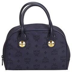 Vintage Authentic MCM Blue Navy Nylon Fabric Visetos Handbag Germany SMALL