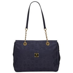 Vintage Authentic MCM Blue Visetos Shoulder Bag Germany w Dust Bag LARGE