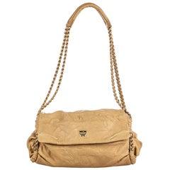 Vintage Authentic MCM Brown Beige Leather Chain Shoulder Bag GERMANY MEDIUM