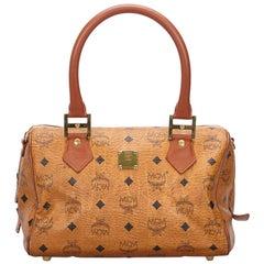 Vintage Authentic MCM Brown Leather Visetos Boston Bag GERMANY MEDIUM