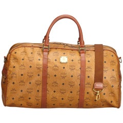 Vintage Authentic MCM Brown Leather Visetos Duffle Bag Germany LARGE