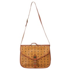 Vintage Authentic MCM Brown Leather Visetos Handbag Germany LARGE