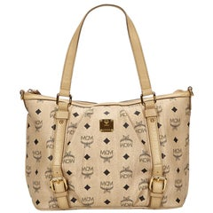 Vintage Authentic MCM Brown Leather Visetos Handbag GERMANY w/ Dust Bag MEDIUM
