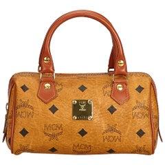 Vintage Authentic MCM Brown Leather Visetos Mini Boston Bag Italy MINI