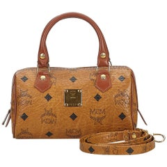Vintage Authentic MCM Brown Leather Visetos Satchel ITALY SMALL