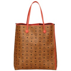 Vintage Authentic MCM Brown Leather Visetos Tote Bag Germany w/ Pouch LARGE