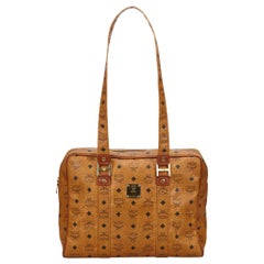 Vintage Authentic MCM Brown Leather Visetos Tote Germany LARGE