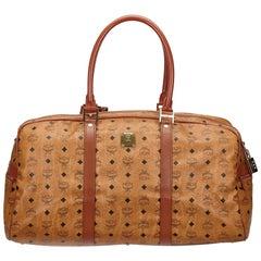 Vintage Authentic MCM Brown Leather Visetos Travel Bag Germany LARGE