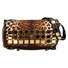 Vintage Authentic MCM Brown Leopard Studded Shoulder Bag JAPAN w Pouch LARGE