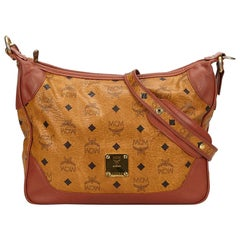 Vintage Authentic MCM Leather Visetos Shoulder Bag Germany w Dust Bag MEDIUM